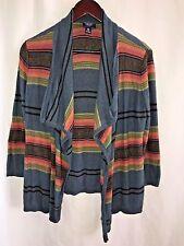 Chaps Denim Women's Aztec Indian Blanket Striped Open Cardigan Sweater Medium