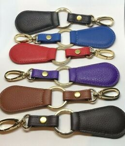 Real Leather Key Holder Key Ring with Hook Closure Luxury Leather 6 Colours