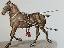 LITHOGRAPHY 1910 BUGGY HORSE COLLAR SLED HARNESS