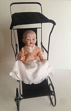 Antique Bisque Dome Head Composition Body Baby Doll Marked 3-5 & Metal Stroller