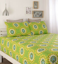 Home Ecstasy Green Floral Double Bed sheet with 2 pillow covers