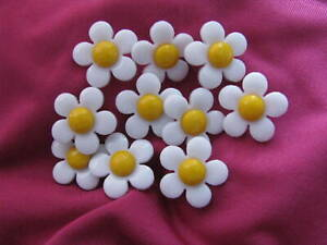 Kinderknopf, Kinderknöpfe, Motiv: Blume Margerite (weiß-gelb), 18mm, 10 Stück