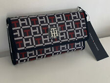 NEW! TOMMY HILFIGER NAVY BLUE RED CONTINENTAL CHECKBOOK WALLET PURSE $45 SALE