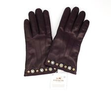 New Women's Coach Leather Gloves Daisy Rivet Aubergine 6 ½ $165