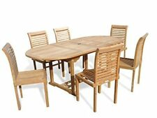 """Windsor's Premium Grade A Teak 82""""x 39"""" Oval Extension Table w 6 Stacking Chairs"""