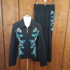Joseph Ribkoff Suit 10 8 Blazer Pants Turquoise Bling Trends Black Floral Beaded