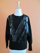 Vintage 80's Womens Size S Black Glitzy Angora Blend Bat Wing Sleeve Sweater