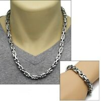 For Men's 8mm Stainless Steel byzantine chain Necklace and Bracelet Set Silver