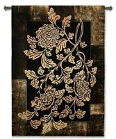 TEXTURED FLORAL MOTIF FLOWERS ABSTRACT ART TAPESTRY WALL HANGING 37x53