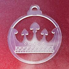 6 Pk Hearts Crown Clear Acrylic Christmas Decorations