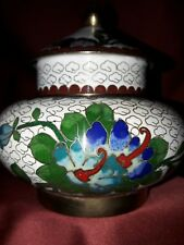 Alte florale bauchige Cloisonne -Dose Ingwer Teedose Tea Caddy / Gember Jar