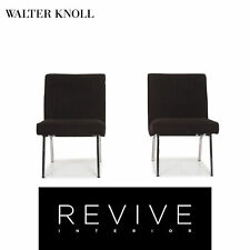 Walter Knoll Fabric Armchair Set Black 2x Chair #12650