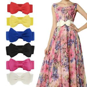 Women Casual Bowknot Buckle Waistband Bow Wide Elastic Stretch Dress Waist Belt