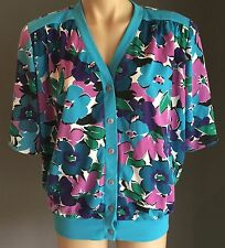 Vintage Hand Made Multi Coloured Floral Print Top/Cardi Size 16