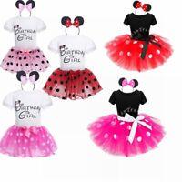 Kids Girl Baby Toddler Minnie Mouse Polka Dot Party Costume Ballet Tutu Dress