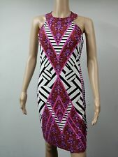 NEW to AUS - MUSE Sleeveless Knee Length Chevron Dress Size 6 Multicolored $128
