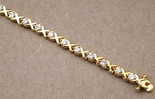 Lady's Yellow Gold Plated Tennis Bracelet Cubic Zirconia 7.25in Inches long XOXO