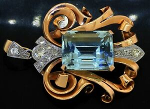 Antique heavy Platinum/18K YG 16.29CT diamond & aquamarine jumbo pendant