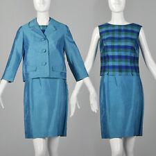 XS Blue Skirt Set 1960s Teal Plaid Sleeveless Shell Top Silk Boxy Jacket 60s VTG