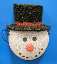 Vintage Large Snowman Face Melted Plastic Outdoor Light Lamp Post Cover