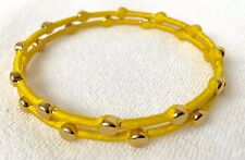 Pair of NEW Gold Stud Bangles wrapped with Lemon Yellow Ribbon two 2 bracelets