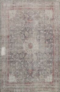 Antique Muted Tebriz Distressed Hand-knotted Evenly Low Pile WOOL Area Rug 10x13