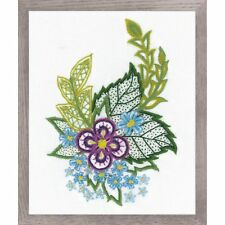 RIOLIS  1688  SKETCH WITH CORNFLOWERS  EMBROIDERY THERAPY