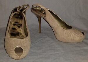 Sam Edelman Size 8.5 Evelyn Taupe Platform Peep Toe Snakeskin Stiletto Pumps