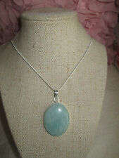 ~ Natural Amazonite Gemstone Pendant & Silver Plated Chain ~ Large Gemstone ~