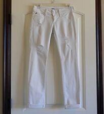 HUDSON USA Ginny Crop Straight wCuff Womens Stretch White Jeans SZ 24 Destructed