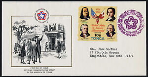 Tonga 378 on addressed FDC - Declaration of Independence, Flags