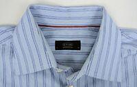 Eton of Sweden Men's $245 Classic Fit Blue Twill Stripe Dress Shirt 17-36