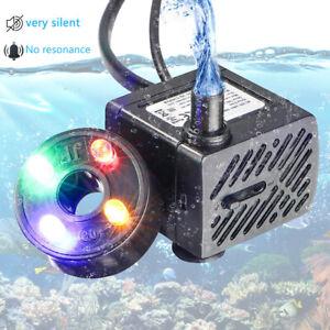 Aquarium Förderpumpe Wasserpumpe Tauch Pumpe Zimmerbrunnenpumpe mit 4 LED-Licht