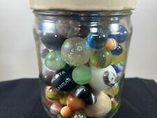 Pint jar full <100 Vintage Glass Marbles Mega , Shasta, Old lots of Other Misc