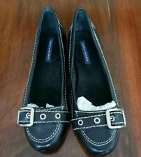 AUTH.BNEW TOMMY HILFIGER FLAT BLACK LEATHER SHOES SZ. 7.5