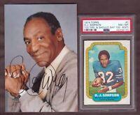 1974 Topps #1 Oj Simpson PSA 8 (st) & 2011 Bill Cosby Autograph 4 x 6 photo