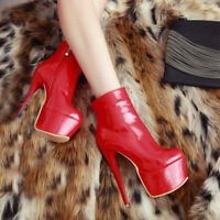 Sexy Women Ankle Boots Platform Round Toe Heels Boots Black Red Shoes for Woman