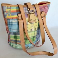 Dooney & Bourke Madras Plaid Picnic Small Bucket Tote Handbag Purse Womens Bag