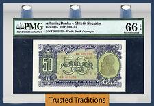 "TT PK 29a 1957 ALBANIA 50 LEKE ""POPULATION ONE"" PMG 66 EPQ GEM UNCIRCULATED"