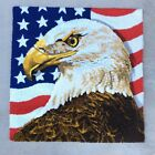 Vintage Wool Folk Art Americana Hand Hooked Rug American Flag Eagle Tapestry