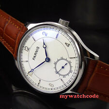 44mm parnis white dial blue marks seagull 6498 hand winding mens wrist watch 29B
