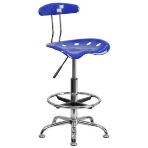 Navy Drafting Stool Chair Adjustable Height Tractor Swivel Seat Blue Chrome Base