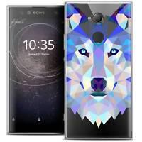 "Coque Housse Etui Pour Sony Xperia XA2 ULTRA (6"") Polygon Animal Souple Fin Loup"