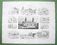 PERU Bolivia Chile South America - 1860 SCARCE Print Multiple Views