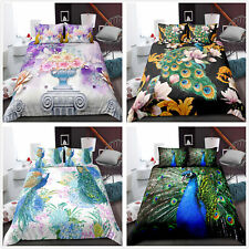 Peacock animal Duvet Cover Bedding Set Quilt Pillowcase Single Double King