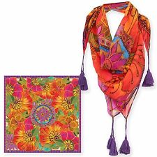 Laurel Burch 100% Poly Rayon Square Scarf Warm Brights Floral Neck Scarf New