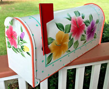 Hand Painted Mailbox Post Mount Colorful Hibiscus Flowers