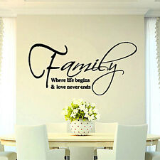 Love Family Removable Vinyl DIY Decal Art Mural Home Decor Quote Wall Sticker