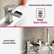 OZONE SQUARE WATERFALL BATHROOM TAP SET - BASIN MONO & BATH FILLER SHOWER MIXER