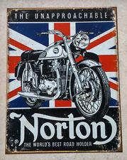NORTON MOTORCYCLE   -  Metal Promotional Sign -  Garage Decor - Mancave